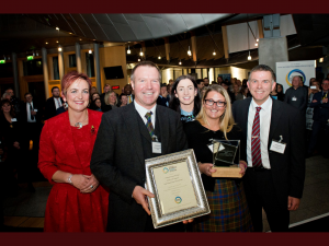 Angela Constance MSP presents to Jonny Kinross, Susan Harper Catherine Jones and Tommy Steel at the Awards ceremony at the Scottish Parliament